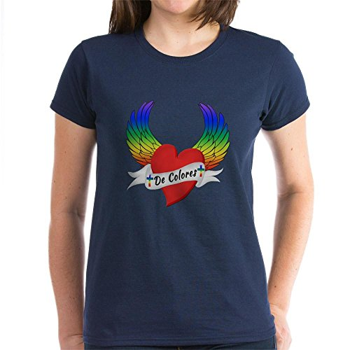 (CafePress - Winged Heart De Colores T-Shirt - Womens Cotton T-Shirt Navy)