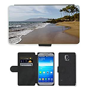 CARD POCKET BOOK CASE PU LEATHER CASE // M00421783 Playa Hawaii Océano mar tropical // Samsung Galaxy S5 S V SV i9600 (Not Fits S5 ACTIVE)