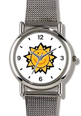 Smile, Smiley, Smiling Sun or Star - WATCHBUDDY ELITE Chrome-Plated Metal Alloy Watch with Metal Mesh Strap-Size-Small ( Standard Women's Size )