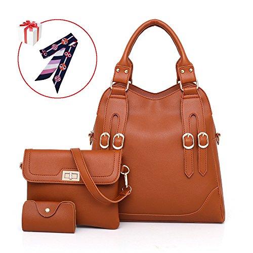 Belle Heure Bags Women's big tote bag Shoulder Bag card holder 3 set Brown