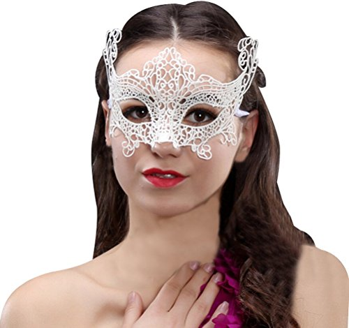 Women's Lace Eye Mask For Masquerade Party Prom Ball,White (Ideas For Masquerade Masks)