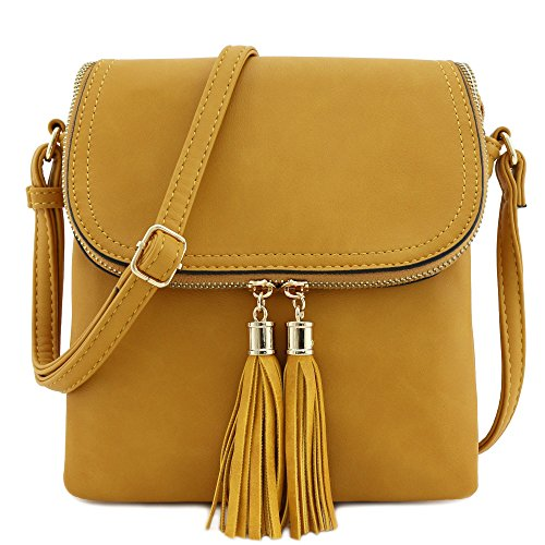 - Flap Top Double Compartment Crossbody Bag with Tassel Accent (Mustard)