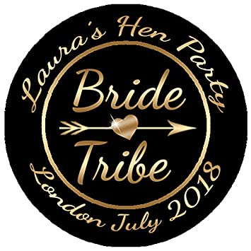 1 sheet of 24 45mm personalised gold bride tribe stickers hen party
