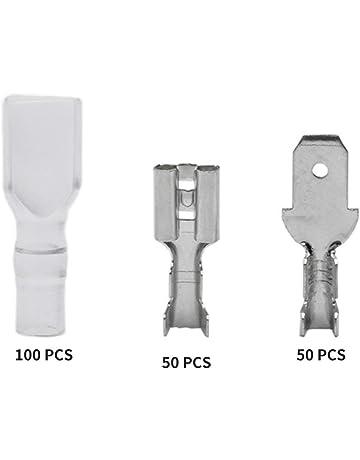 HarveyRudol85 200pcs 4,8 mm Connecteurs de fils Bornes /à sertir Sertir les bornes femelles//m/âles /à b/êche avec manchons isolants transparents/ã/€SYM/ã/€/'