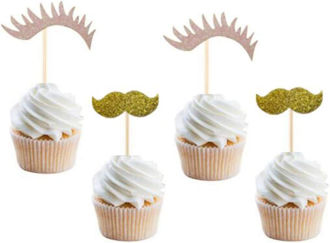 24 Pack of Glitter Gold Staches and Pink Lashes Cupcake Toppers Picks for Gender Reveal Party Baby Shower Wedding Birthday Decorations