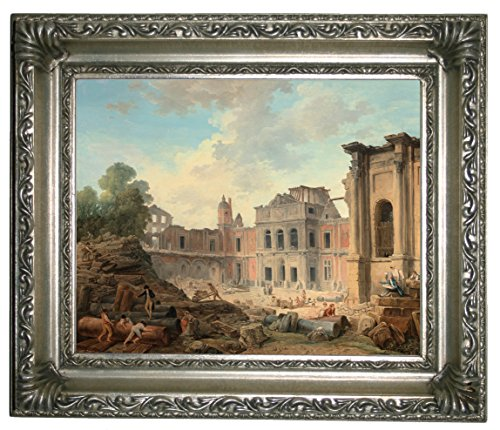 "Historic Art Gallery Demolition of The Chi1/2Teau of Meudon 1806 Framed Canvas Print 8"" x 10"" Silver"
