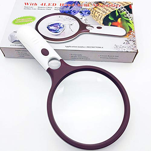 Extra Large Magnifying Glass with Light 5.5'' Bright 4 LED Lights, 2X +30X Double Optical Lens Handheld Magnifier Glass for Reading,Coins, Seniors, Jewelry Hobbies Geology by SINOCCL (Large Red) by SINOCCL (Image #8)