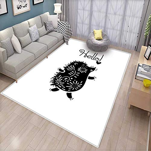 Hedgehog Extra Large Area Rug Black and White Doodle Animal with Spikes Flowers Hello Quote Funny Illustration Bath Mat for tub Black White
