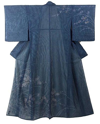 保守的仮称ハンディリサイクル 着物 紗合わせ  訪問着 流水 萩 菊 秋草文様 裄64cm 身丈164cm