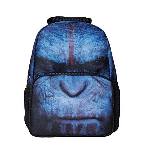 CHADA 3D Animals Print Backpacks Travel School Bags Daypacks (Gorilla)