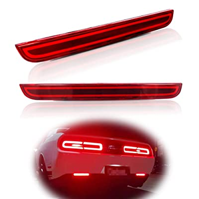 Miniclue Full LED Red Lens Tail Brake Rear Fog Lamps Bumper Reflector Lights Compatible with 2015 2016 2020 2020 2020 Dodge Challenger: Automotive
