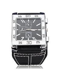 Fashion WoMaGe Big Dial Leather Rectangle Quartz Wrist Watch