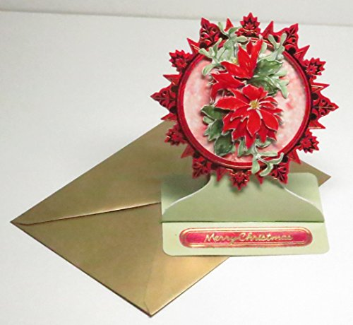 Handmade 3D Poinsettias European Style Easel Merry Christmas Greeting Card with Red & Gold Metallic Round Frame & Gold Pearl Envelope - Limited Edition - 1 in stock (Poinsettia Pearl)