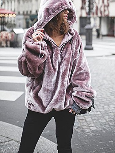 Pxmoda Women's Long Sleeve Oversize Fuzzy Warm Fleece Hoodies Outwear (M, Purple) by Pxmoda (Image #1)