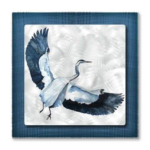 Bird Metal Wall Art Sculpture Painting Great Blue Heron