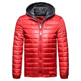 Clearance Forthery Mens Hoodies Puffer Coat Stand Collar Thick Winter Warm Jacket Overcoat(Red, US Size XL = Tag 2XL)