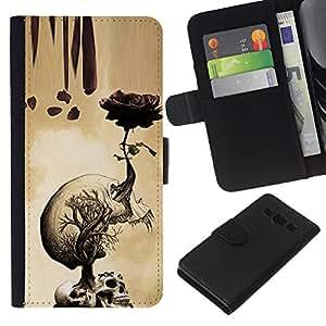 Be-Star la tarjeta de Crédito Slots PU Funda de cuero Monedero caso cubierta de piel Para Samsung Galaxy A3 ( Rose Skull Metal Rock Roll Death Beige )