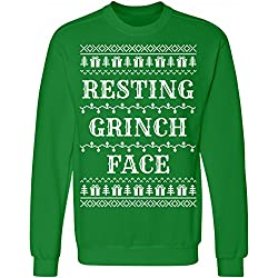 ugly christmas sweater resting grinch face ugly sweater unisex anvil crewneck sweatshirt - How The Grinch Stole Christmas Sweater