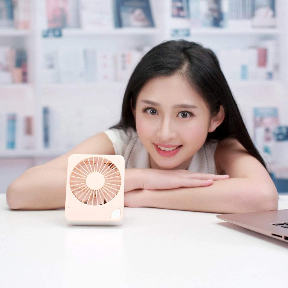 Rechargeable Three Adjustable Modes For Home Bedroom Cool And Outdoor Travel Mini USB Square Light Portable Fan Color : Orange