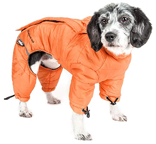 Dog Coat Plush (DogHelios Thunder-Crackle' Full-Body Bodied Waded-Plush Adjustable and 3M Reflective Pet Dog Jacket Coat w/Blackshark Technology, X-Large, Sporty Orange)