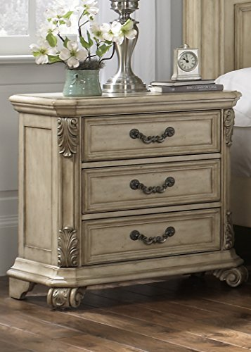 Liberty Furniture Messina Estates II Bedroom 3-Drawer Night Stand, Antique Ivory (Upholstered Messina Living Room)