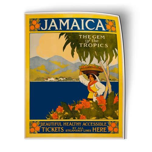 Palm Tree Refrigerator Magnet - AK Wall Art Jamaica Vintage Travel Design - Magnet - Flexible Waterproof - Fridge Locker - Select Size