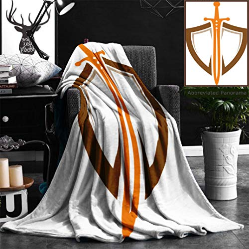 Nalagoo Unique Custom Flannel Blankets Shield Sword Guardian Logo Template Super Soft Blanketry for Bed Couch, Twin Size 60