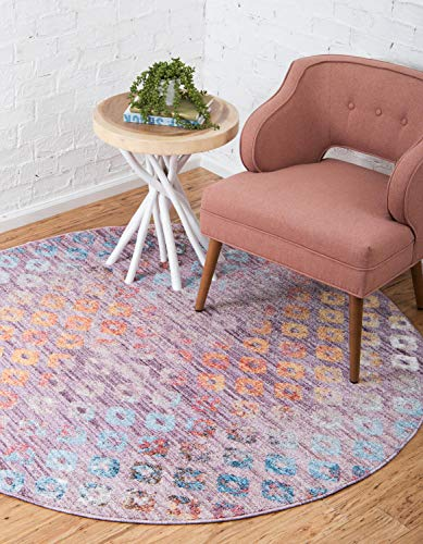 Unique Loom Rainbow Collection Geometric Abstract Modern Watercolor Lilac Round Rug (3' x 3')