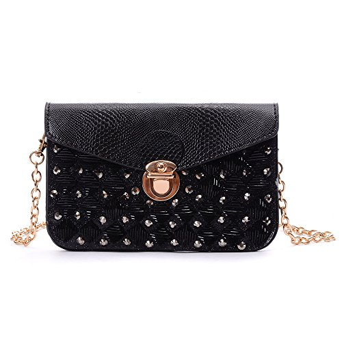 YOUNA Ladies Leather Envelope Style Studded Square Circle Clutch Gold Metal Chain (Studded Satchel Bag)