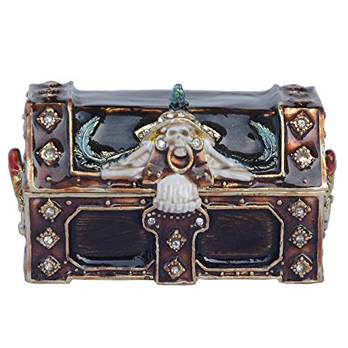 Pirate Treasure Box Trinket Box Hinged Hand-painted Figurine Collectible Ring Holder with Gift Box