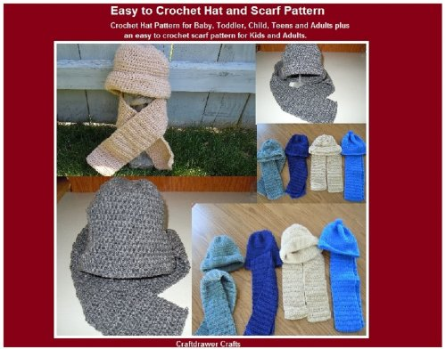 Easy to Crochet Hat and Scarf Pattern for Baby, Kids, Teens and Adults