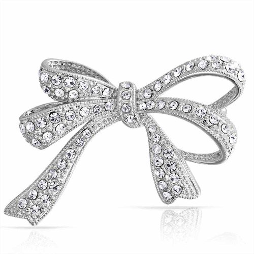 Bling Jewelry Tone Clear CZ Pave Ribbon Bow Brooch Pin Silver Plated