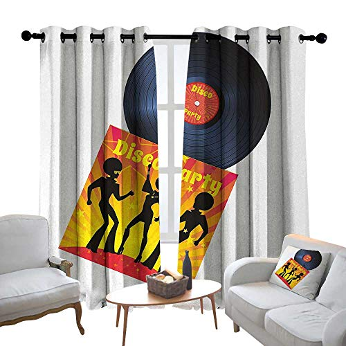 (Kitchen Curtains 70s Party,Vinyl Record Cover with Disco Party Illustration Dancers Music Art Print,Orange Yellow White,Rod Pocket Drapes Thermal Insulated Panels Home décor 52