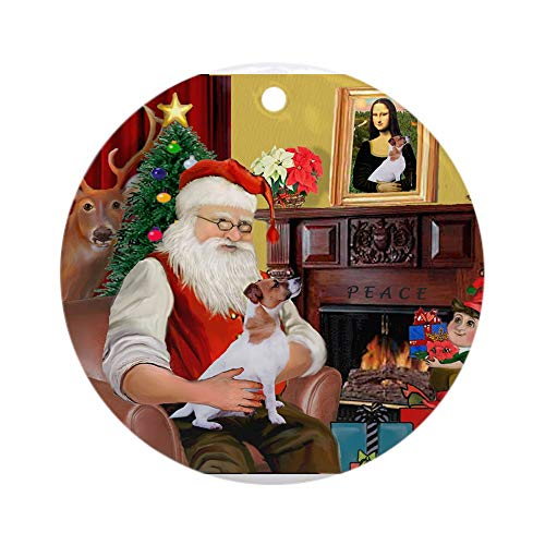 Jack Russell Christmas Cards - CafePress Santa's Jack Russell Ornament (Round) Round Holiday Christmas Ornament