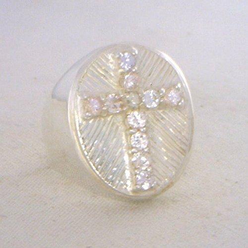 White Sapphire Christian Cross Handmade Sterling 925 Silver Gents Ring size 10 (Cross Sapphire Christian)