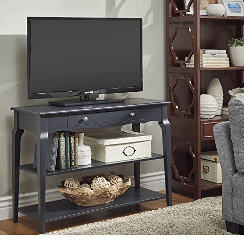 Pottery Barn Console (Modern Wood TV Stand Accent Console Sofa Table with 1 Drawer and 2 Open Shelves - Includes Modhaus Living Pen (Charcoal Black))