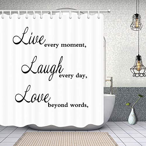 """NYMB Live Laugh Love Shower Curtains, Quote Live Every Moment Laugh Every Day Love Beyond Words, Polyester Fabric Inspirational Shower Curtain, Bathroom Accessory Sets (70""""X70"""")"""