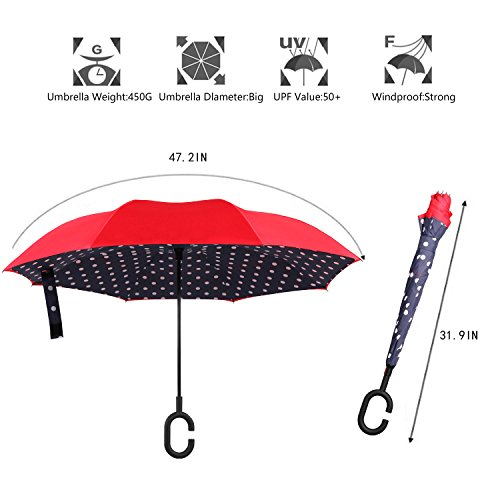 BAGAIL Double Layer Inverted Umbrellas Reverse Folding Umbrella Windproof UV Protection Big Straight Umbrella for Car Rain Outdoor With C-Shaped Handle Blue Dot