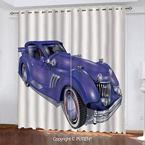 Satin Grommet Window Curtains Drapes [ Cars,Custom Vehicle with Aerodynamic Design for High Speeds Cool Wheels Hood Spoilers Decorative,Violet Blue ] Window Curtain for Living Room Bedroom Dorm Room - Aerodynamic Cab