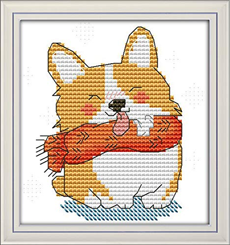 CaptainCrafts New Stamped Cross Stitch Kits Preprinted Pattern Counted Embroidery Starter Kits for Beginner Kids and Adults - Smiling Yellow Puppy Shiba Inu - DIY Artwork Needlecrafts (Stamped 11CT)