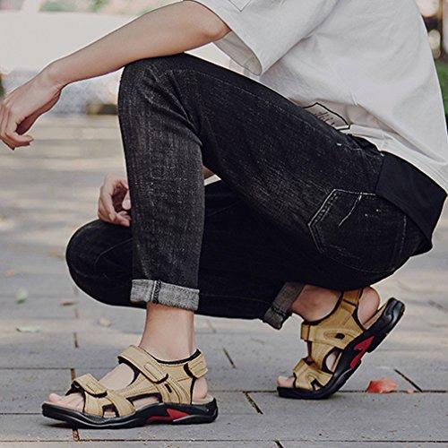 Junkai Mens Leather Sandals - Trekking Outdoor Summer Shoes ka18051604 Khaki JwycEoLSQ