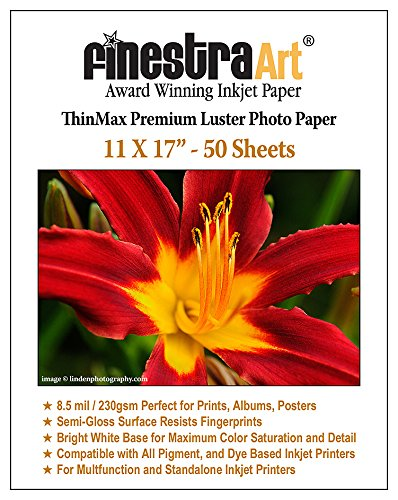 Finestra Art 11x17 Premium Luster Inkjet Photo Paper - 50 Sheets 8.5mil