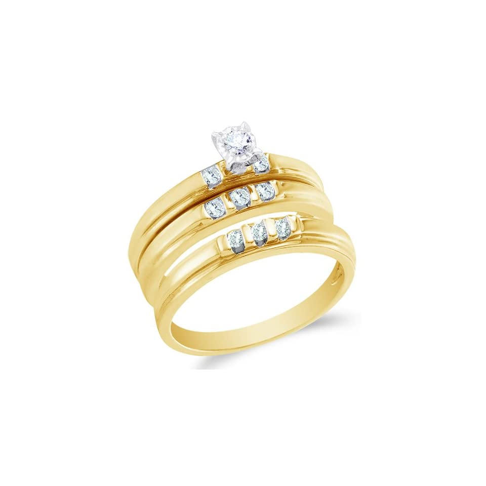 Size 10   10K Yellow Gold Diamond Mens and Ladies Couple His & Hers Trio 3 Three Ring Bridal Matching Engagement Wedding Ring Band Set   Classic Traditional Solitaire Setting w/ Channel Set Round Diamonds   (1/4 cttw)   SEE PRODUCT DESCRIPTION TO CHOOSE