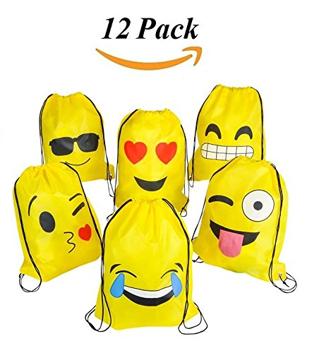 JoyABit Emoji Drawstring Backpack Bags Pack Of 12 Cute Assorted Emoticon Back To School