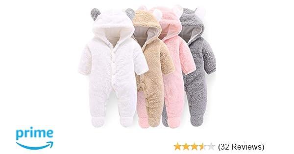 626f61796bbe Amazon.com  VNVNE Newborn Baby Cartoon Bear Snowsuit Warm Fleece ...