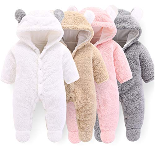 VNVNE Newborn Baby Cartoon Bear Snowsuit Warm Fleece Hooded Romper Jumpsuit (3-6 M, White)