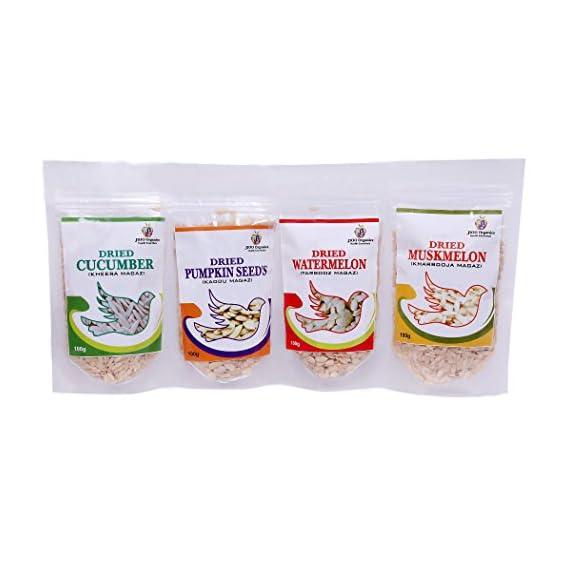 Jioo Organics Pack of Char Magaz, Cucumber, Pumpkin, Watermelon and Muskmelon Seeds (100 Gms)