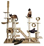 "Marketworldcup 96"" Tan White Cat Tree Play House Gym Tower Condo Scratch Post Rope Basket Swing"