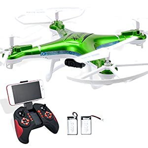 Quadcopter Drone with Camera Live Video, Drones FPV 1080P HD WIFI Camera with Remote Control, FREE Extra Battery and Quadcopters Crash Replacement Kit with LED lights, Easy Use for Beginners Kids GRN