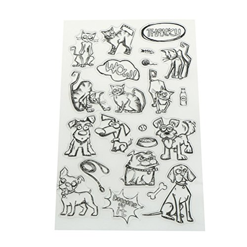 Animals Clear Stamps - Ioffersuper 1 Sheet Clear Silicone Stamp Seal for Scrapbooking Card Making Photo Album Decor,Cat Dog Animal Pattern